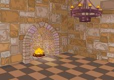 城堡霍尔和壁炉 向量例证