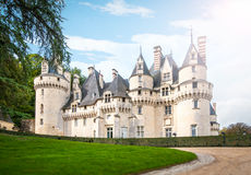 城堡风景看法在法国,欧洲。 免版税库存照片