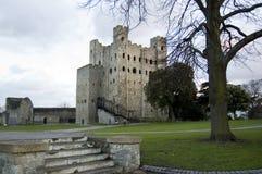 城堡黄昏肯特罗切斯特英国 免版税库存照片