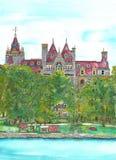 城堡水彩 库存照片