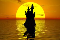 城堡水 免版税库存图片