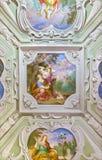 城堡& x27; CERVENY KAMEN& x27; 斯洛伐克, 2016年:与Hagar的天花板沙漠的壁画和伊斯梅尔城堡的Cerveny卡梅尼火山 库存图片