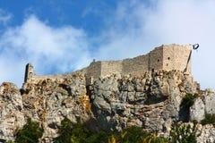 城堡cathar peyrepertuse 免版税库存图片