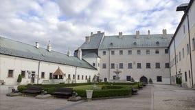 城堡Cerveny卡梅尼火山庭院在斯洛伐克 免版税图库摄影