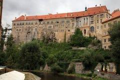 城堡cesky捷克krumlov保护的共和国科教文组织 图库摄影