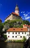 城堡cesky捷克krumlov共和国 库存照片