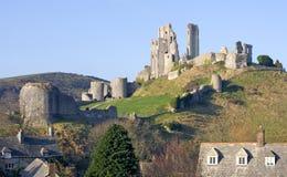 城堡corfe多西特英国南部的swanage 免版税图库摄影