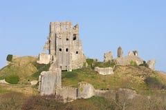 城堡corfe多西特英国南部的swanage 图库摄影