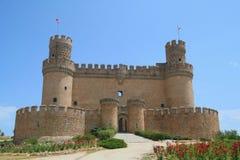 城堡el在实际西班牙附近的马德里manzanares 免版税库存图片