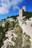 城堡erice西西里岛 库存图片