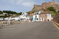 城堡gorey泽西mont orgueil英国 免版税图库摄影