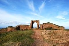 城堡grosnez泽西废墟 免版税库存图片