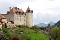 城堡gruy res瑞士 库存照片