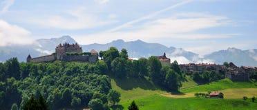 城堡gruyeres瑞士 库存图片