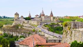 城堡kamianets老podilskyi城镇乌克兰视图 乌克兰 免版税库存照片