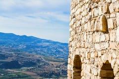 城堡kerak山谷视图 免版税库存图片