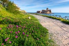 城堡Le Castella,卡拉布里亚(意大利) 免版税库存照片