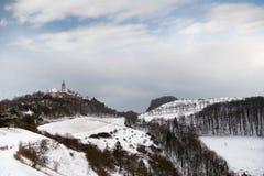 城堡Leuchtenburg在冬天 免版税库存图片