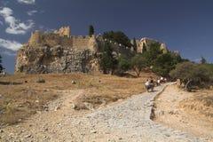 城堡lindos 免版税图库摄影