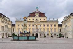 城堡Ludwigsburg主要quadranflo在德国 免版税库存照片