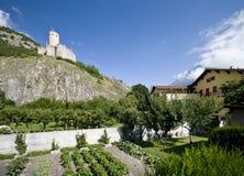 城堡martigny老 免版税库存图片