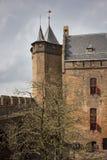 城堡Muiderslot在村庄Muiden在荷兰,荷兰,欧洲 免版税库存照片