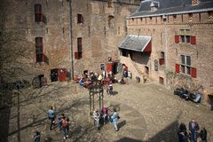 城堡Muiderslot在村庄Muiden在荷兰,荷兰,欧洲 库存图片