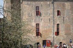 城堡Muiderslot在村庄Muiden在荷兰,荷兰,欧洲 图库摄影