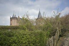 城堡Muiderslot在阿姆斯特丹附近的村庄Muiden在荷兰,荷兰,欧洲 图库摄影