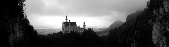 城堡neuschwanstein全景 免版税库存照片