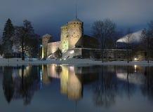 城堡Olavinlinna在Savonlinna,芬兰 免版税图库摄影