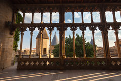 城堡Olite拱廊, Navarra,西班牙 免版税图库摄影