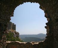城堡peyrepertuse 库存照片