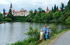 城堡Pruhonice夏天视图(布拉格,捷克语) 免版税图库摄影