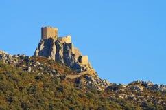 城堡Queribus在法国 库存图片