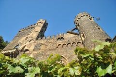 城堡Rheinstein的塔 免版税库存图片