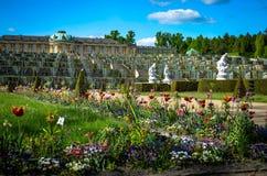城堡sanssouci,波茨坦花园  免版税库存图片