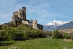 城堡sion瑞士valere 库存照片
