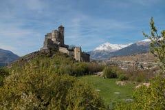 城堡sion瑞士valere 免版税库存照片