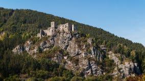 城堡Strecno, Zilina,斯洛伐克 库存照片