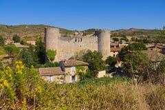 城堡Villerouge-Termenes在法国 免版税库存图片