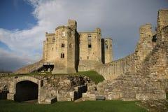 城堡warkworth 库存图片