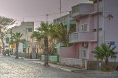城市†‹â€ ‹中心圣玛丽亚-婆罗双树海岛-佛得角 库存图片