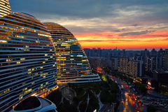 城市不可思议的日落,五颜六色的天空,北京 库存图片
