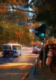 城市与交通的街道视图 免版税库存照片