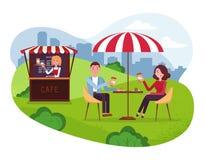城市与伞的公园咖啡馆 夫妇在周末日期 人们喝与蛋糕的Coffe在室外街道咖啡馆 有外部的公园 库存例证