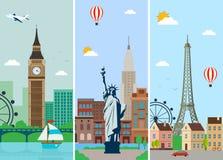 城市与地标的地平线设计 伦敦、巴黎和纽约市地平线设计与地标 向量 向量例证