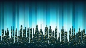 城市与被阐明的Windows的地平线剪影在backgrou 皇族释放例证