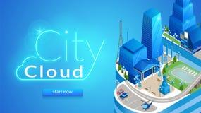 城市云彩水平的横幅 未来派都市风景 库存例证