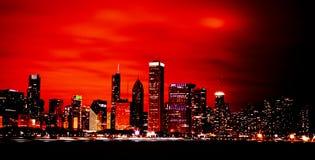 城市从未睡觉 街市的芝加哥 免版税库存图片
